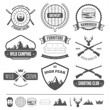 Retro Vintage Insignias set, vector design elements, business signs, identity, labels, badges, apparel, shirts, ribbons, stickers and other branding objects.