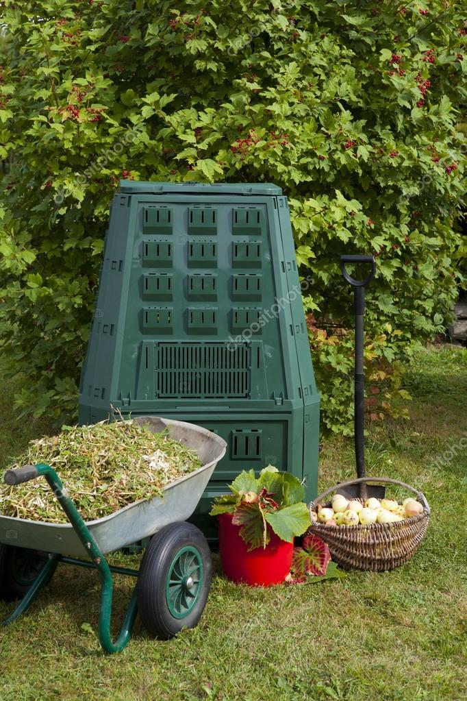 Compost bin in a garden