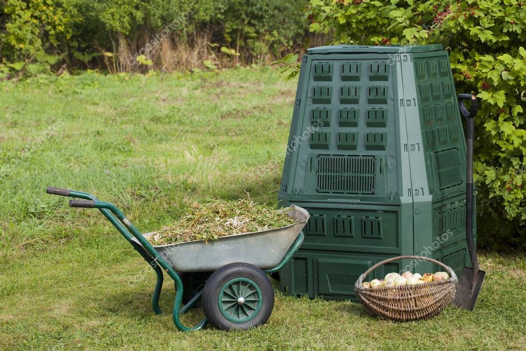 Composting in a autumn garden
