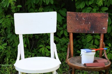 painting restoration old chair before and after