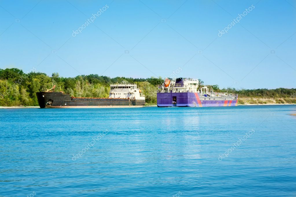 Cargo sailing ship on the river Don Russia