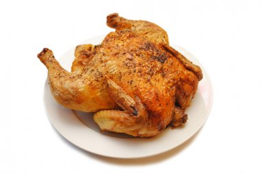 Whole Roasted Chicken on a Round White Platter