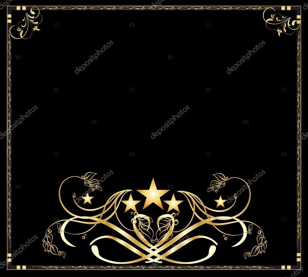 Hintergrund-schwarz & Gold Rahmen Vektor — Stockvektor © bandd #61386389