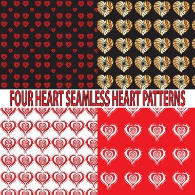 4 Heart Seamless Patterns