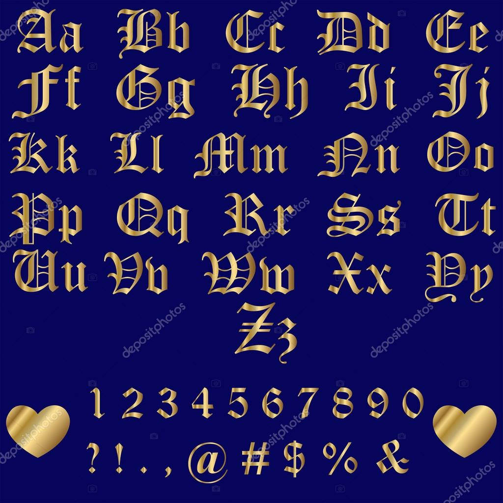 Old English Gold Alphabet Letters and Numbers — Stock Vector © bandd