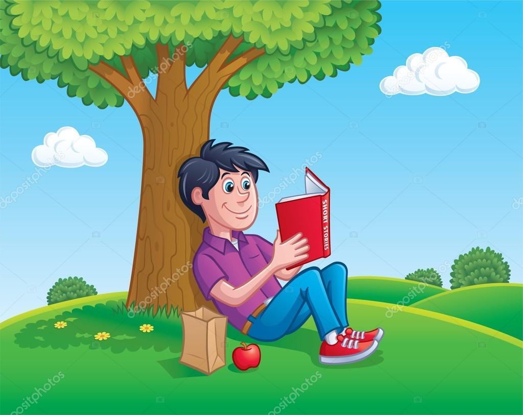 Libro De Lectura Adolescente Muchacho Debajo De Un árbol