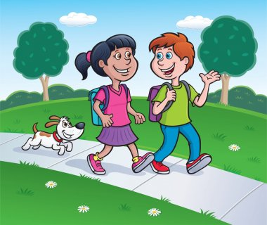 Girl, Boy and Dog Walking Home from School
