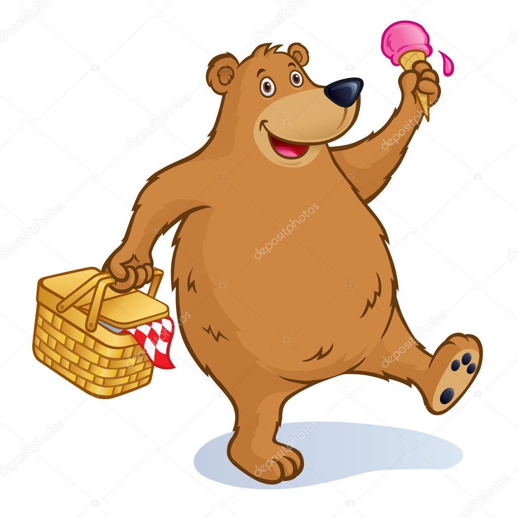 Oso con cesta de Picnic y cono de helado — Foto de stock ...