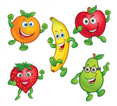 Five Cartoon Fruit Characters