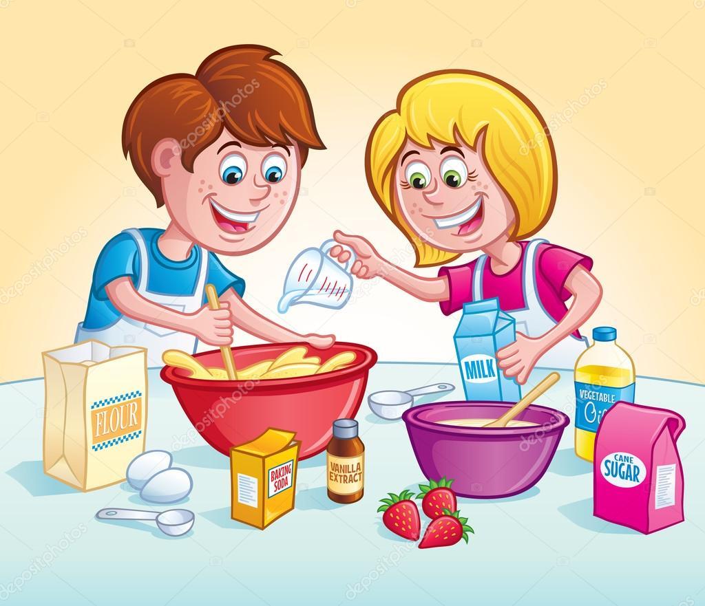 Ni os mezclar una receta en la cocina fotos de stock for Cocinar imagenes animadas