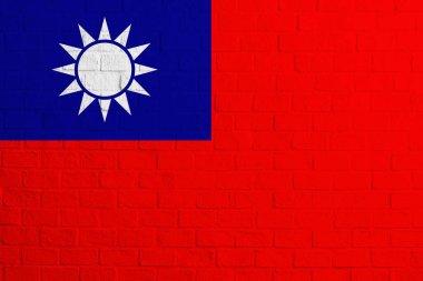 Flag of Republic of China. Brick wall texture of the flag of Republic of China.
