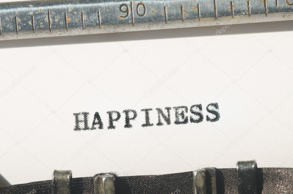 Word happiness typed on typewriter — Stock Photo © aga77ta