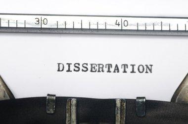 word dissertation typed on old typewriter