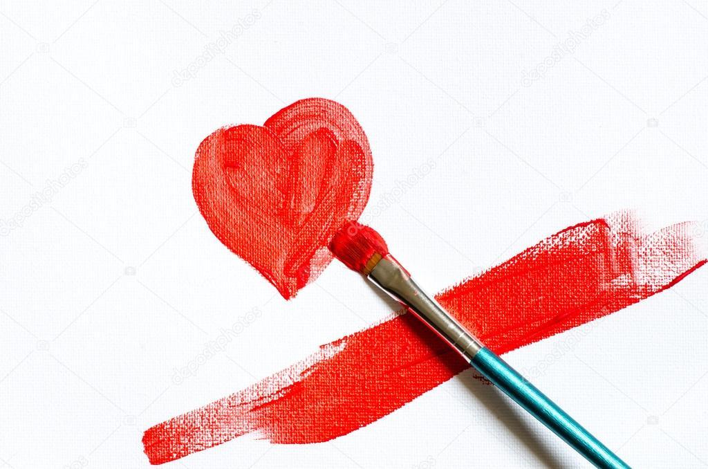 Beyaz üzerine Kırmızı Kalp şekli Boyama Stok Foto Aga77ta 61358535