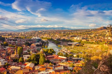 Tbilisi city center over sunset