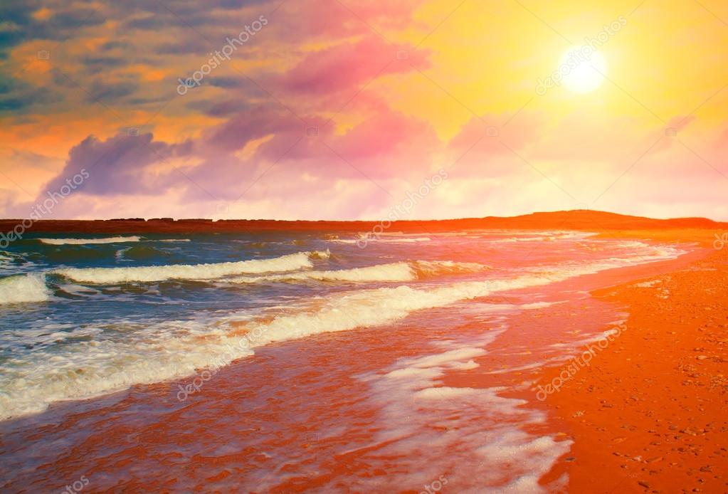 Desert beach at sunset