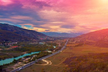 Evening panoramic view of Mtskheta city
