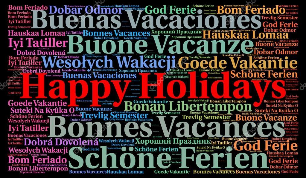 buone vacanze nella nube di parola di lingue diverse