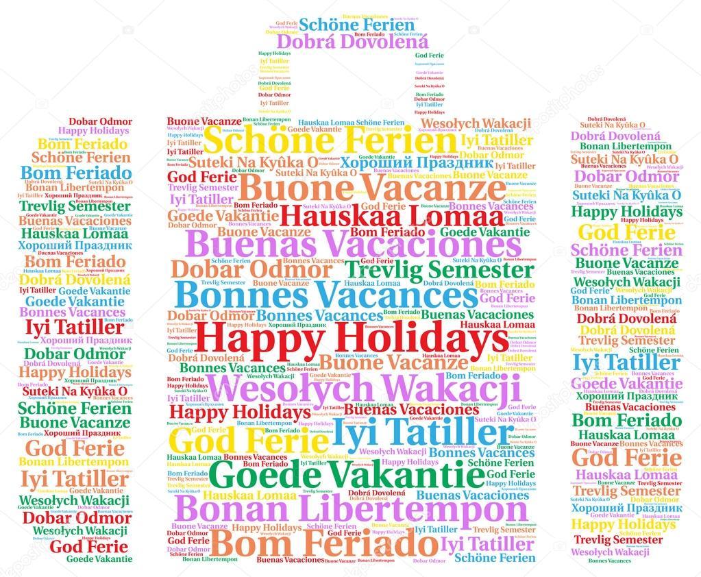 felices fiestas en varios idiomas la palabra nube � fotos