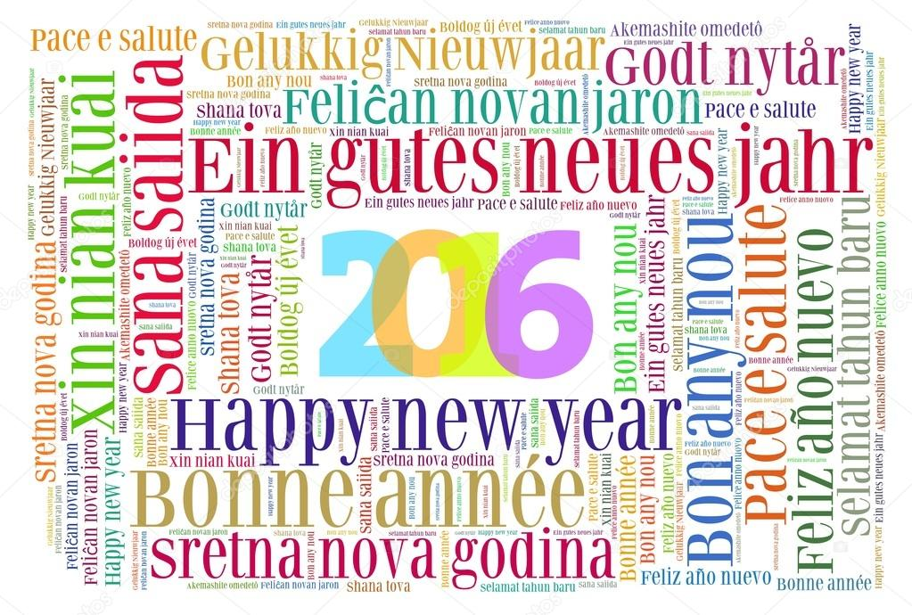 Gelukkig Nieuwjaar 2016 In Verschillende Talen Stockfoto
