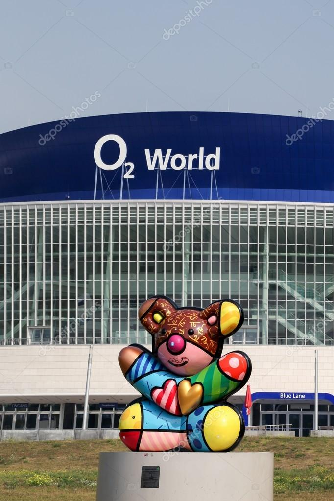 View Of O2 World Arena And A Sculpture Of A Bear Symbol Of Berlin