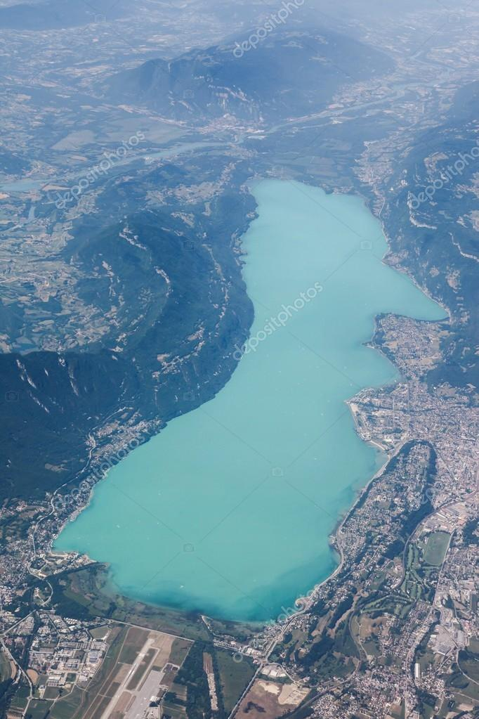 view of bourget lake in aix les bains from the sky france stock photo ricochet69 94508660. Black Bedroom Furniture Sets. Home Design Ideas