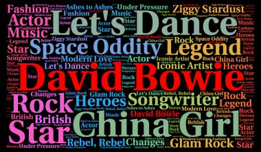 David Bowie illustration concept word cloud