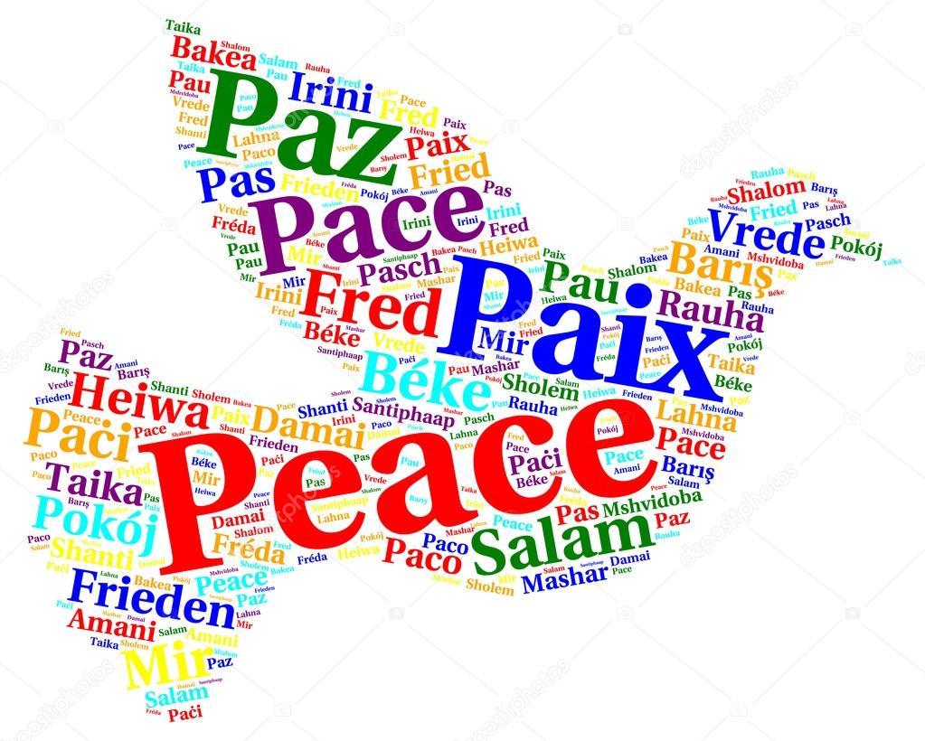 Frieden-Wort-Wolke in verschiedenen Sprachen — Stockfoto ...