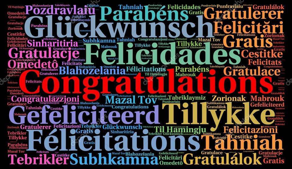 gefeliciteerd in talen Gefeliciteerd in verschillende talen woord wolk — Stockfoto  gefeliciteerd in talen