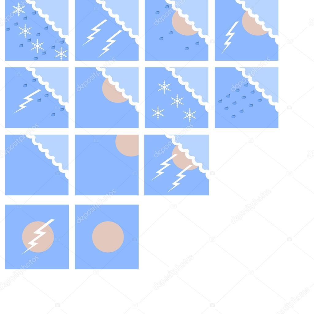 weather forecast icon set in color night ストック写真 sochi