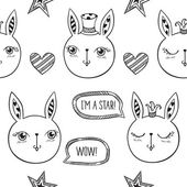Fotografie niedlichen Kaninchen, Sternen und Herzen