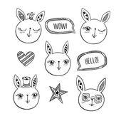Fotografie Satz von handgezeichneten niedlichen Kaninchen