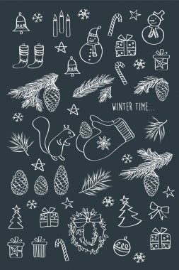 Set of winter icons.