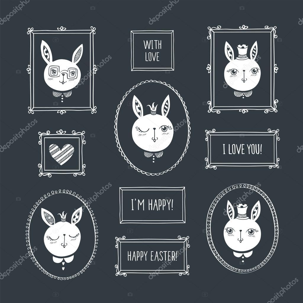 Bilderrahmen mit niedlichen Kaninchen — Stockvektor © tkoko #122883294