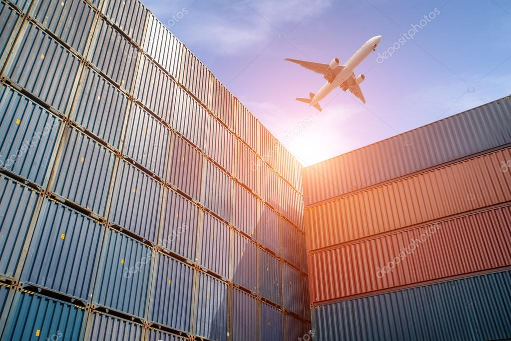 Import, Export, Logistics concept - Stack of Cargo Containers at