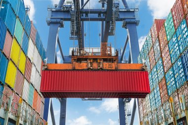 Shore crane lifts container during cargo operation in port stock vector