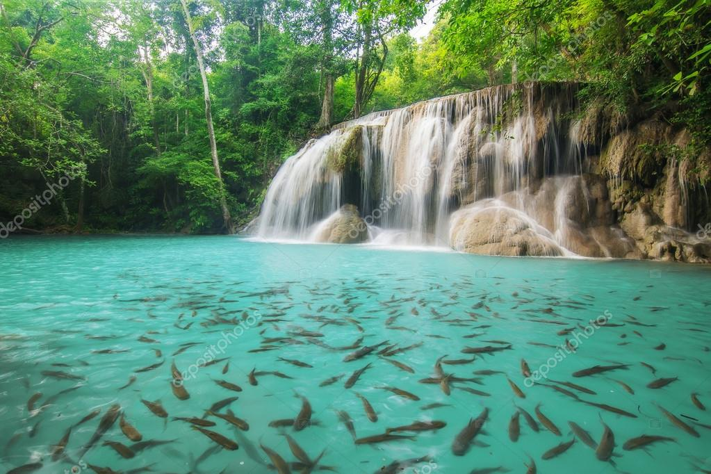 Level two of Erawan Waterfall in Kanchanaburi Province, Thailand
