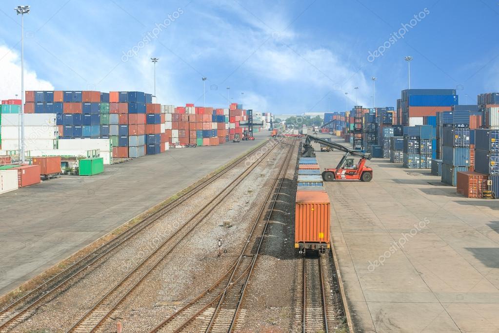 Freight trains on cargo terminal