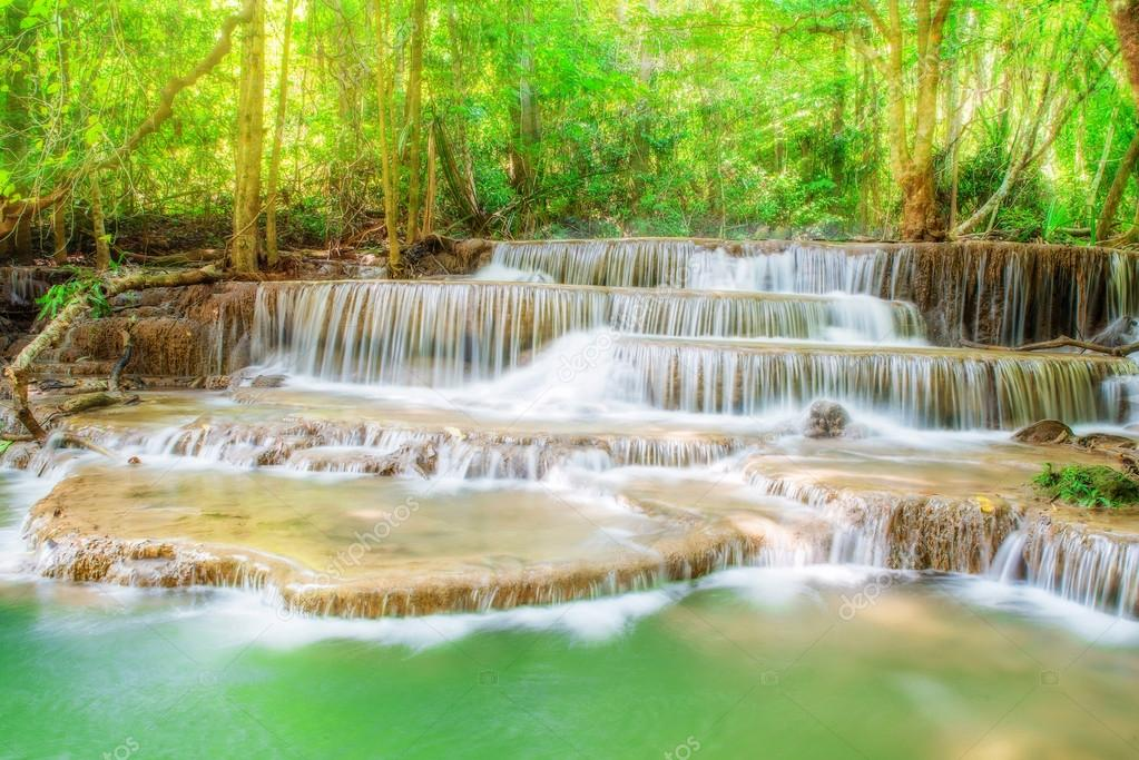 Level six of Erawan Waterfall in Kanchanaburi Province, Thailand