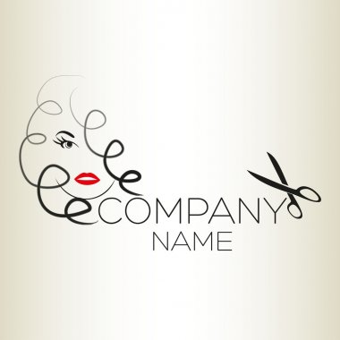 An logo is a girl and hair clip art vector