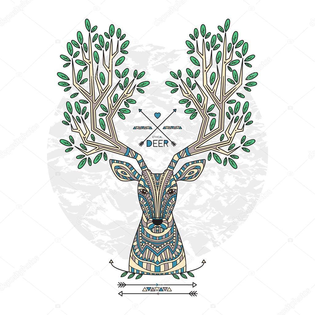 Modelado venado con cuernos y flechas y hojas — Archivo Imágenes ...