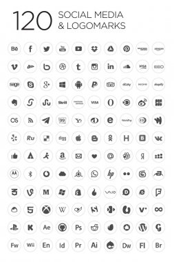 120 Social icons, white & black