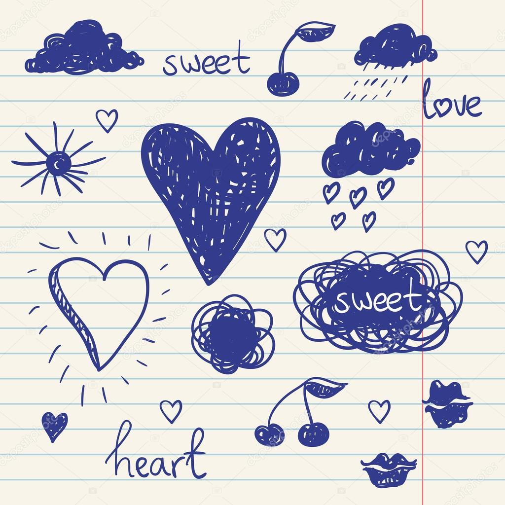 vector set of chalk doodles. cloud, hearts, laurel wreath