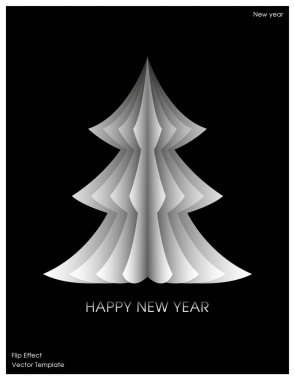 Christmas tree with flip effect. New year decor element for typography or poster. Modern trendy template. Xmas creative design for flyer, banner, cover. Vector stock illustration. Gradient white black