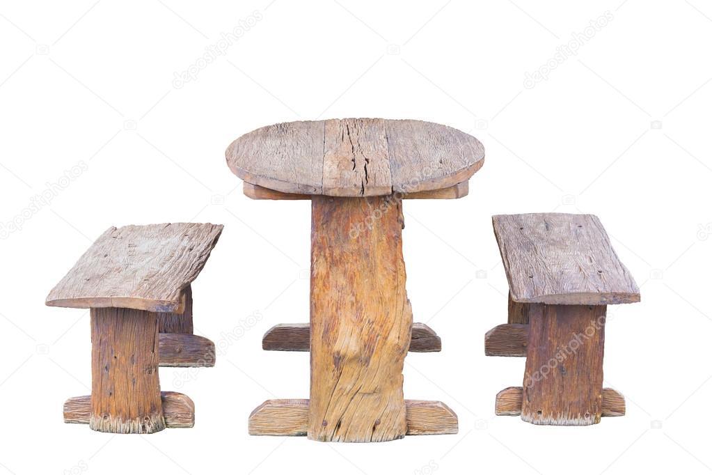 Oude houten tafel en stoelen u stockfoto ballykdy