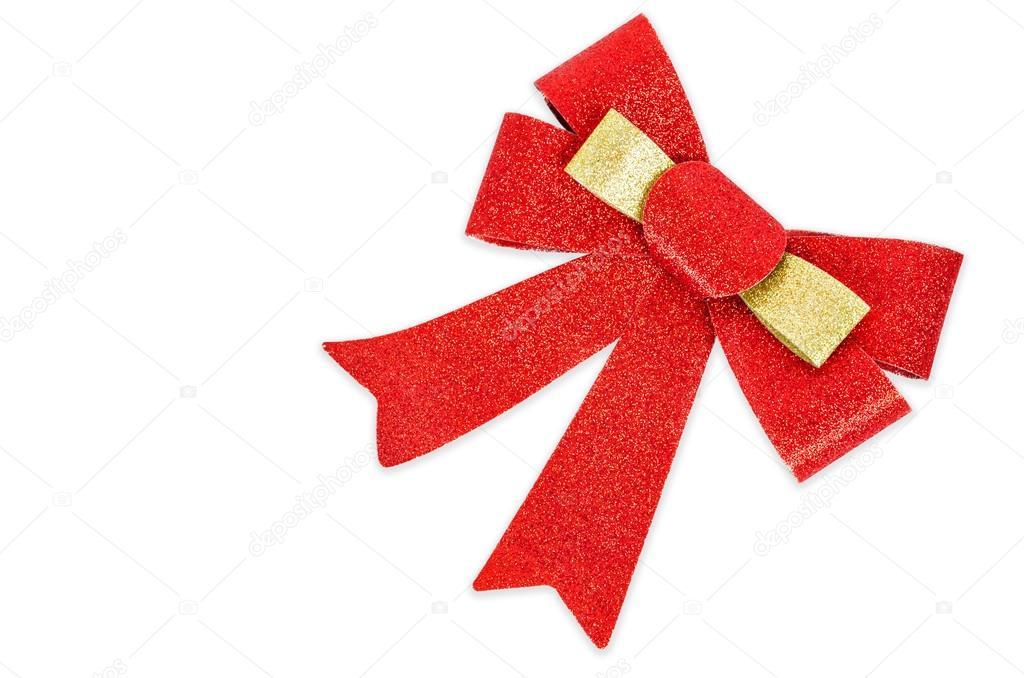 Red gift blitter bow. Ribbon.