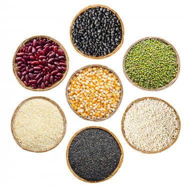 set of cereals seeds beans, red beans, black beans, green beans,