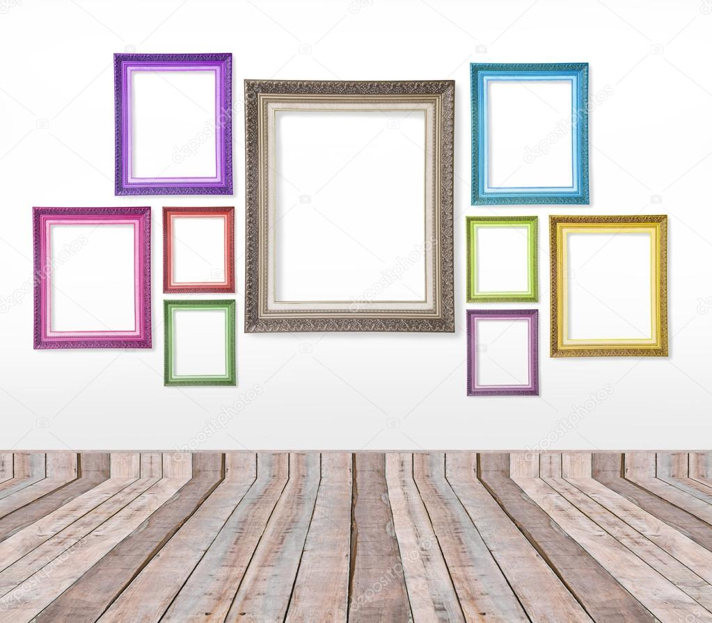 Set of color vintage picture frames on the wall — Stock Photo ...