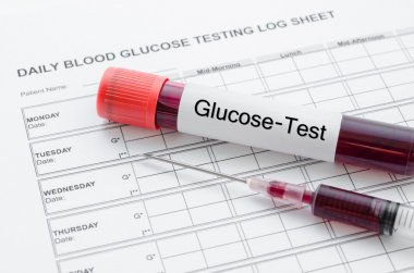 Daily blood glucose testing and sample blood in tube and syringe