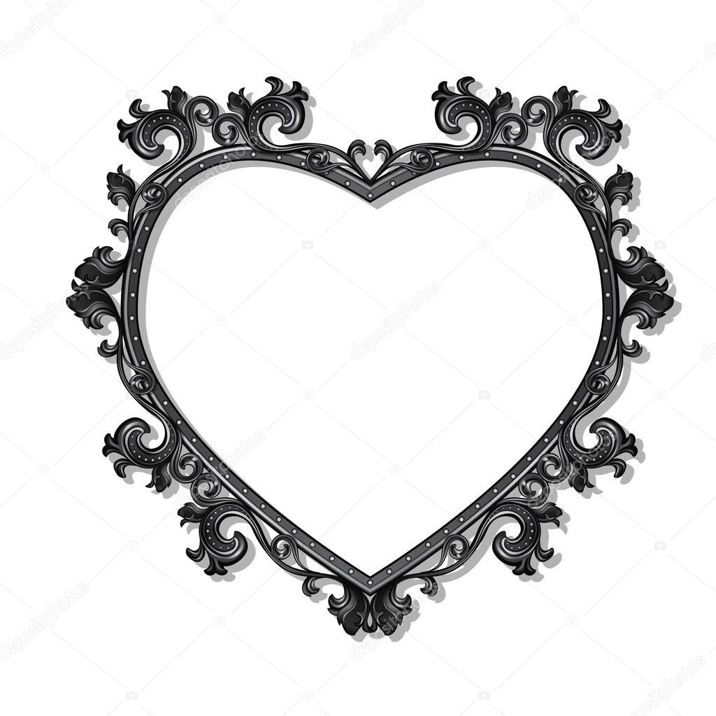 marco en forma de corazón para cuadro o foto — Vector de stock © M ...